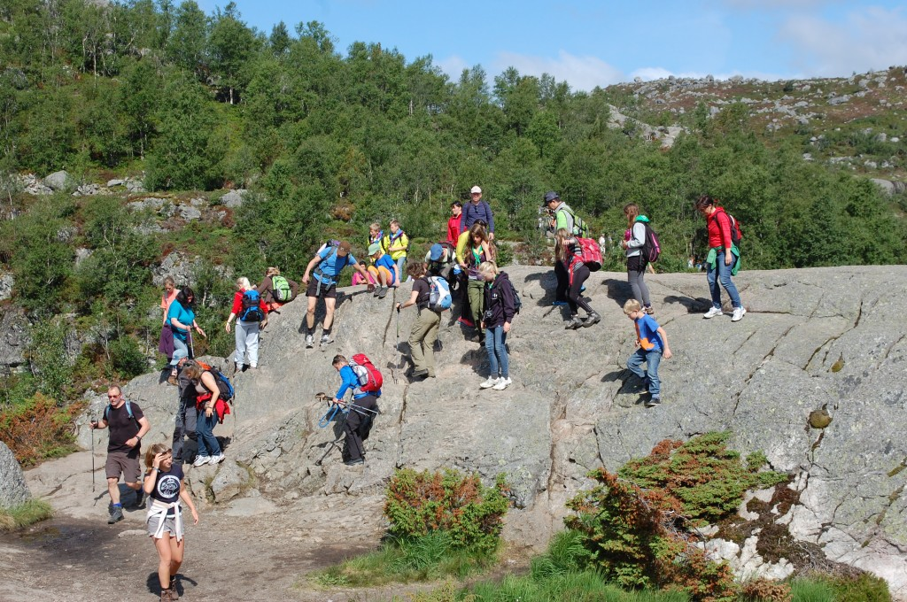 Stavanger 2013: Det var ikke bare speidere som skulle på Peikestolen. Skogdue og tjue tilfeldige turister.
